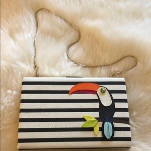 Kate Spade Striped Clutch with Toucan design